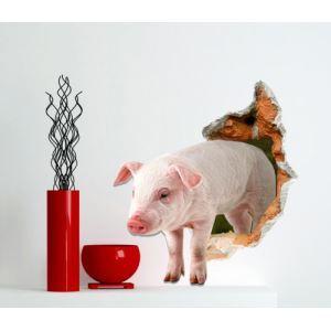 3D Wall Sticker Piggy Decorative Wall Covering PVC Washable 3D Wall Art
