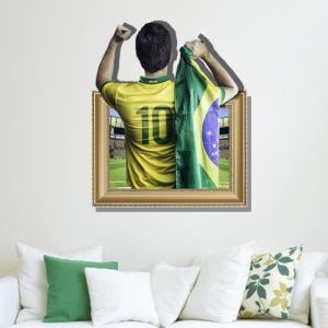 3D 2014 Brazilian World Cup Wall Sticker Decorative Wall Covering PVC Washable 3D Wall Art
