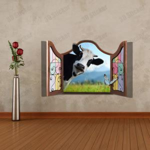 3D Wall Sticker Cow Decorative Wall Covering PVC Washable 3D Wall Art