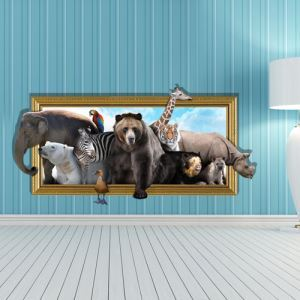 3D Wall Sticker World of Animals Decorative Wall Covering PVC Washable 3D Wall Art