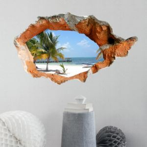 3D Wall Sticker Seascape Decorative Wall Covering PVC Washable 3D Wall Art