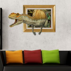3D Wall Sticker Yellow Dinosaur Decorative Wall Covering PVC Washable 3D Wall Art