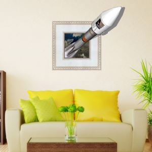 3D Wall Sticker Rocket Decorative Wall Covering PVC Washable 3D Wall Art