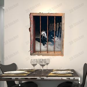 3D Wall Sticker Prison Decorative Wall Covering PVC Washable 3D Wall Art