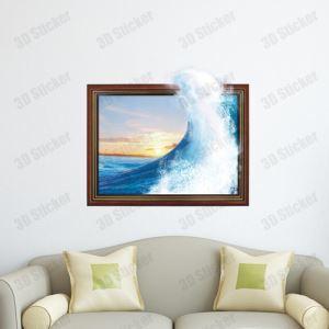 3D Wall Sticker Big Wave Decorative Wall Covering PVC Washable 3D Wall Art