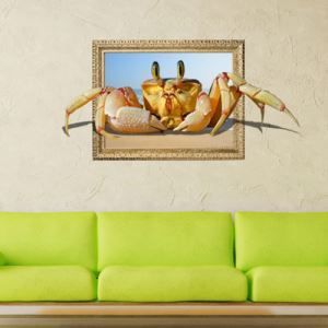 3D Wall Sticker Crab Decorative Wall Covering PVC Washable 3D Wall Art