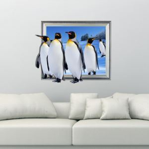 3D Wall Sticker Penguin Decorative Wall Covering PVC Washable 3D Wall Art