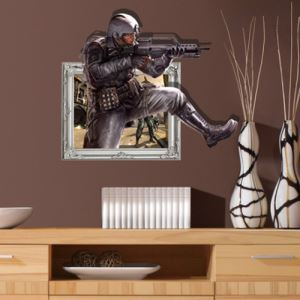 3D Wall Sticker Gunner Decorative Wall Covering PVC Washable 3D Wall Art