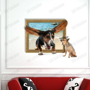 3D Wall Sticker Dogs Decorative Wall Covering PVC Washable 3D Wall Art