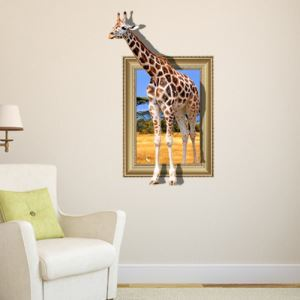 3D Wall Sticker Giraffe Decorative Wall Covering PVC Washable 3D Wall Art