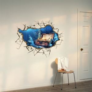 3D Wall Sticker Treasure Lake Decorative Wall Covering PVC Washable 3D Wall Art