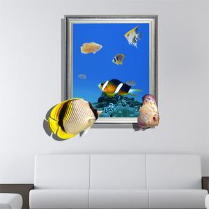 3D Wall Sticker Sea World Decorative Wall Covering PVC Washable 3D Wall Art