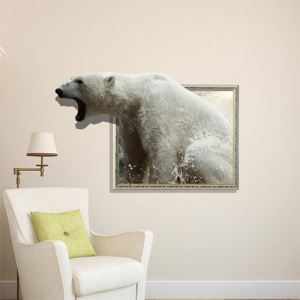 3D Wall Sticker Sea Lion Bear Decorative Wall Covering PVC Washable 3D Wall Art