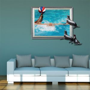 3D Wall Sticker Dolphin Decorative Wall Covering PVC Washable 3D Wall Art