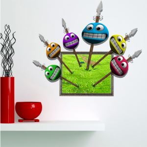 3D Wall Sticker Friends Decorative Wall Covering PVC Washable 3D Wall Art