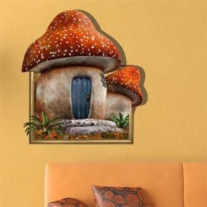 3D Wall Sticker Mushroom Home Decorative Wall Covering PVC Washable 3D Wall Art