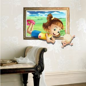 3D Wall Sticker Girl Decorative Wall Covering PVC Washable 3D Wall Art