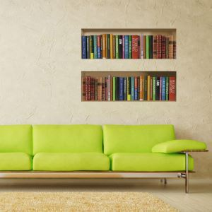 3D Wall Sticker Bookcase Bookshelf Decorative Wall Covering PVC Washable 3D Wall Art