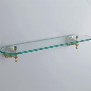Antique Brass Bathroom Accessories Shelf Glass Satin