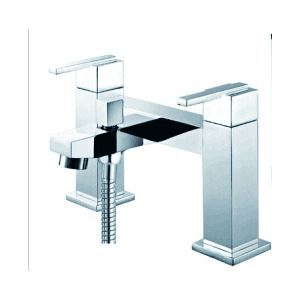 Chrome Finish Two Handles Centerset With Brass Handled Shower Head Tub Faucet