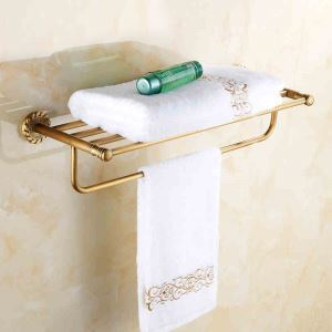 European Vintage Bathroom Accessories Tower Rack Antique Brass Towel Bar