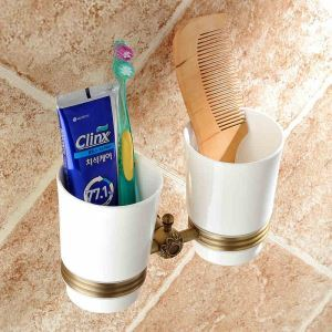 European Vintage Bathroom Accessories Antique Brass Double Toothbrush Holder