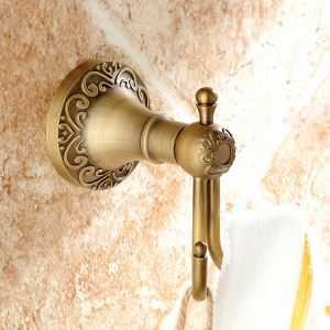 (In Stock)European Vintage Bathroom Accessories Antique Brass Robe Hook