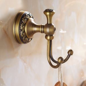 European Vintage Bathroom Accessories Antique Brass Robe Hook