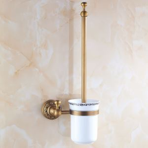 European Vintage Bathroom Accessories Antique Brass Toilet Brush Holder
