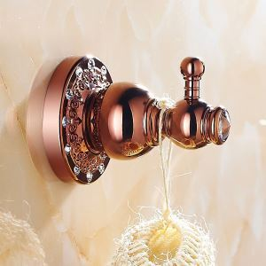 European Country Bathroom Accessories Rosy Gold Robe Hook