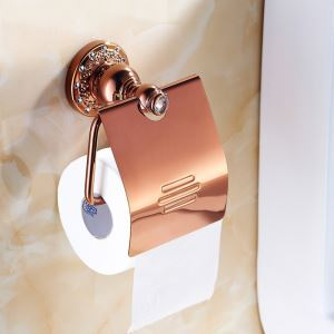 European Country Bathroom Accessories Toilet Roll Holder Rosy Gold Paper Holder