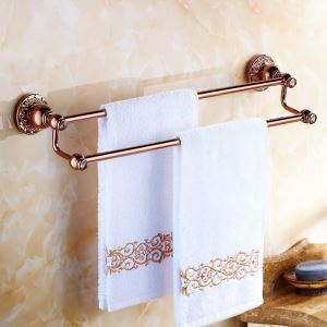 European Country Bathroom Accessories Towel Rack Rosy Gold Towel Bar