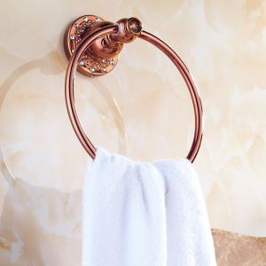 European Country Bathroom Accessories Rosy Gold Towel Ring