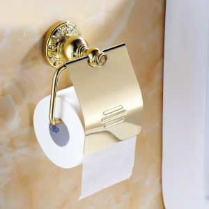 Modern Bathroom Accessories Ti-PVD Toliet Roll Holder Brass Paper Holder