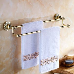 Modern Bathroom Accessories Ti-PVD Towel Rack Brass Towel Bar