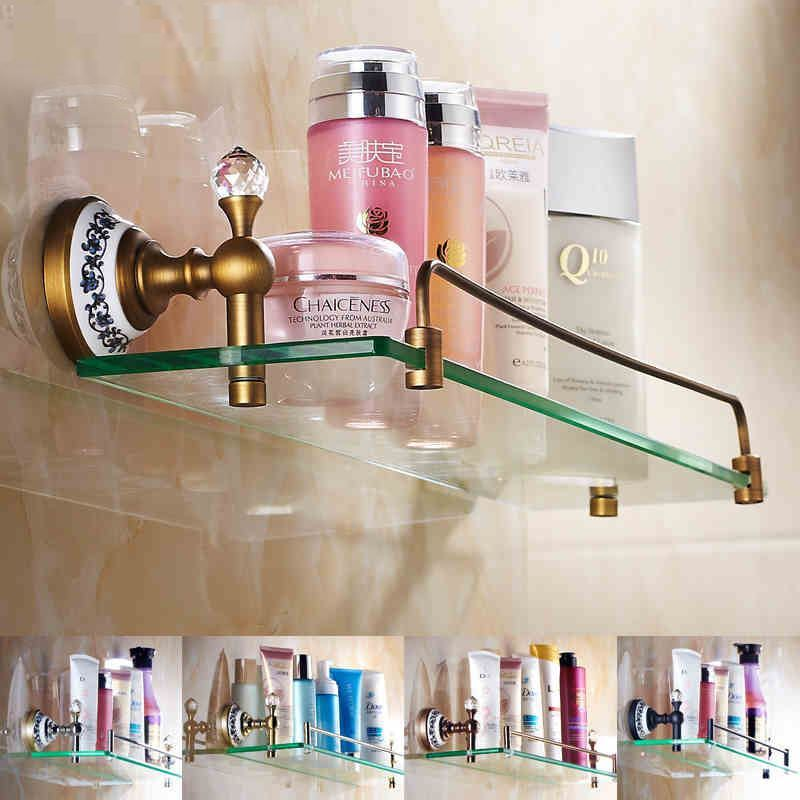 bathroom bath shelves european vintage bathroom accessories antique brass glass shelf bath shelf - Bathroom Accessories Glass Shelf
