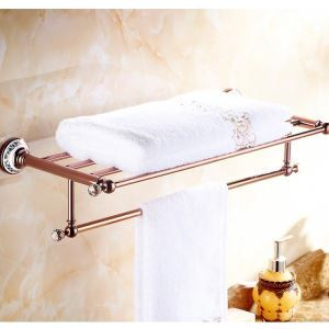 European Country Bathroom Accessories Rosy Gold Towel Rack Brass Towel Bar