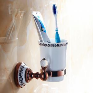 European Country Bathroom Accessories Rosy Gold Toothbrush Holder