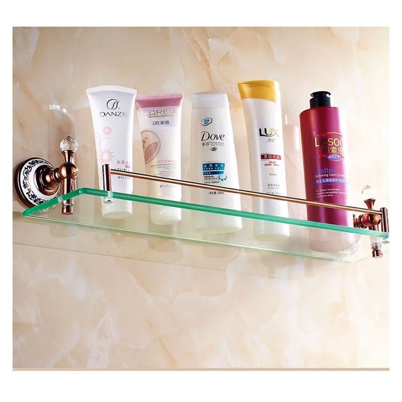 Bathroom bath shelves european country bathroom for Gold glass bathroom accessories