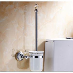Modern Bathroom Accessories Electroplated Brass Toilet Brush Holder