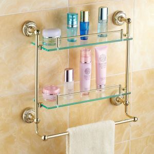 Modern Bathroom Accessories Ti-PVD Double Brass Bath Shelf Glass Shelf