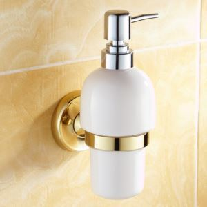 Modern Bathroom Accessories Ti-PVD Soap Holder Brass Soap Dispenser