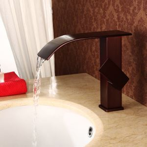 Antique Oil-rubbed Bronze Waterfall Sink Tap Bathroom Sink Faucet