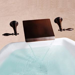 Antique Oil-rubbed Bronze Double Handles Three Installation Holes Waterfall Sink Tap Wall Mounted Bathroom Sink Faucet