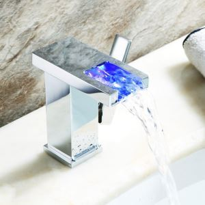 Modern Chrome Finish Single Handle Bathtub Tap Single Installation Hole LED Bathtub Faucet