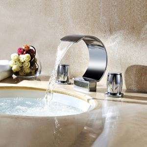 Contemporary Chrome Finish Double Handles Three Installation Holes Sink Tap Waterfall Bathroom Sink Faucet