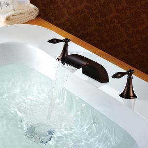 Antique Oil-rubbed Bronze Double Handles Three Installation Holes Bathtub Tap Waterfall Bathtub Faucet