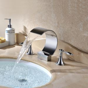 Contemporary Chrome Finish Double Handles Three Installation Holes Bathtub Tap Waterfall Bathtub Faucet
