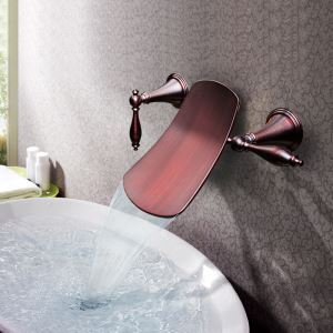 Oil-rubbed Bronze Double Handles Three Installation Holes Wall Mounted Sink Tap Waterfall Bathroom Sink Faucet