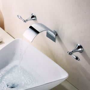 Modern Chrome Finish Double Handles Three Installation Holes  Waterfall Sink Tap Wall Mounted Bathroom Sink Faucet